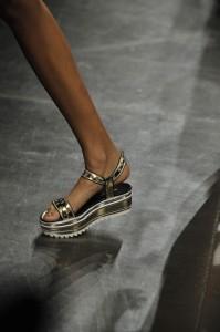 Platform sandals on a runway