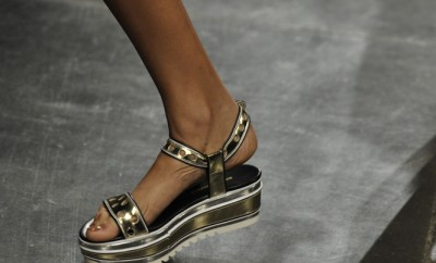 Platform sandals on a runway
