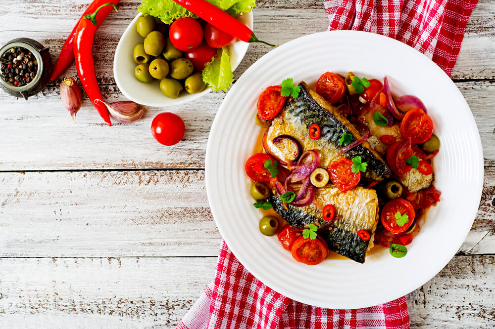 grilled mackerel and mediterranean vegetables