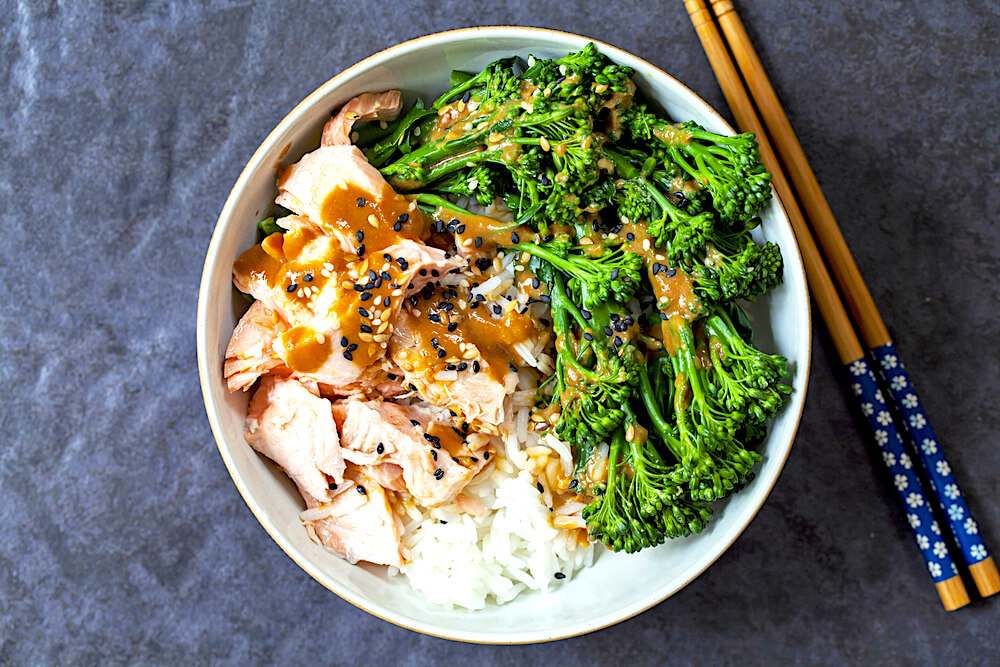 steamed broccoli and miso sesame sauce