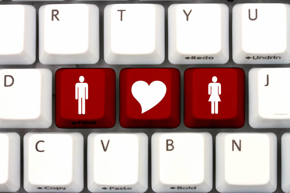Computer keypad with online dating concept