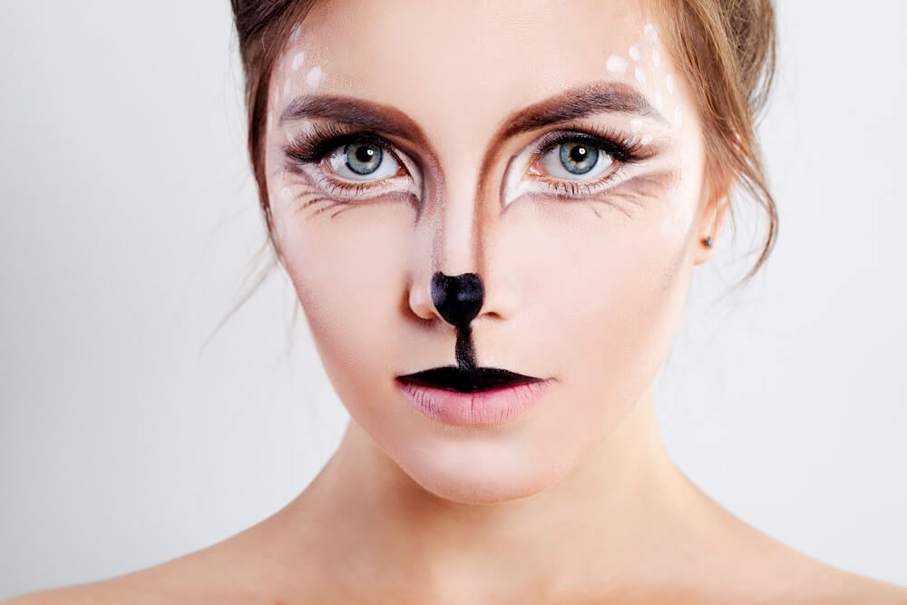 Pretty woman with deer makeup