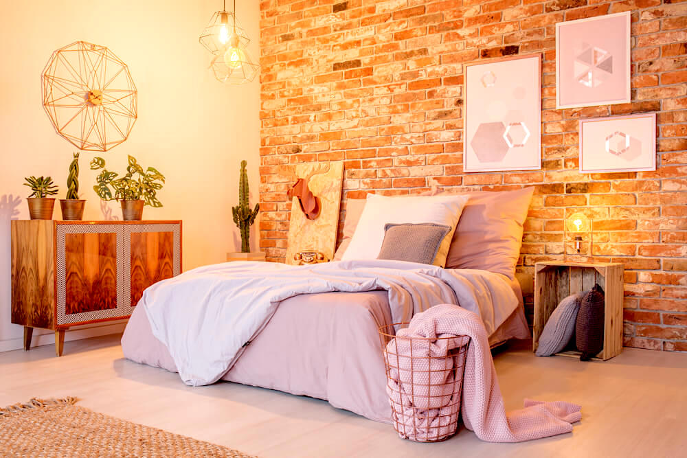 Interior bedroom design with candle