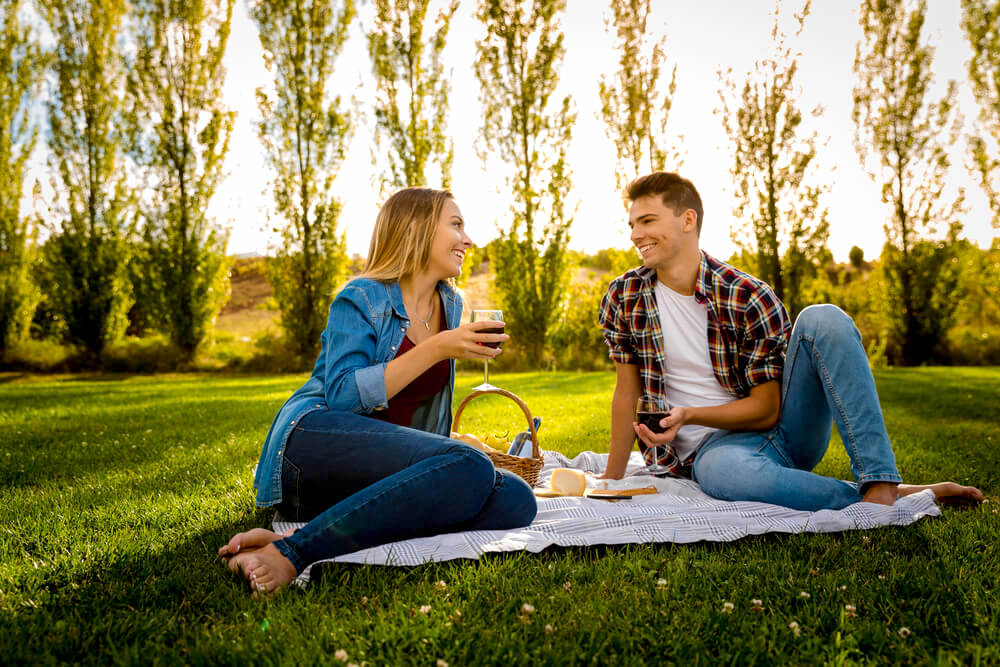 Couple enjoying picnic in the park, summer day
