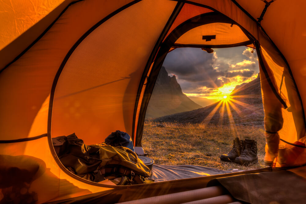 View from inside tent during sunrise