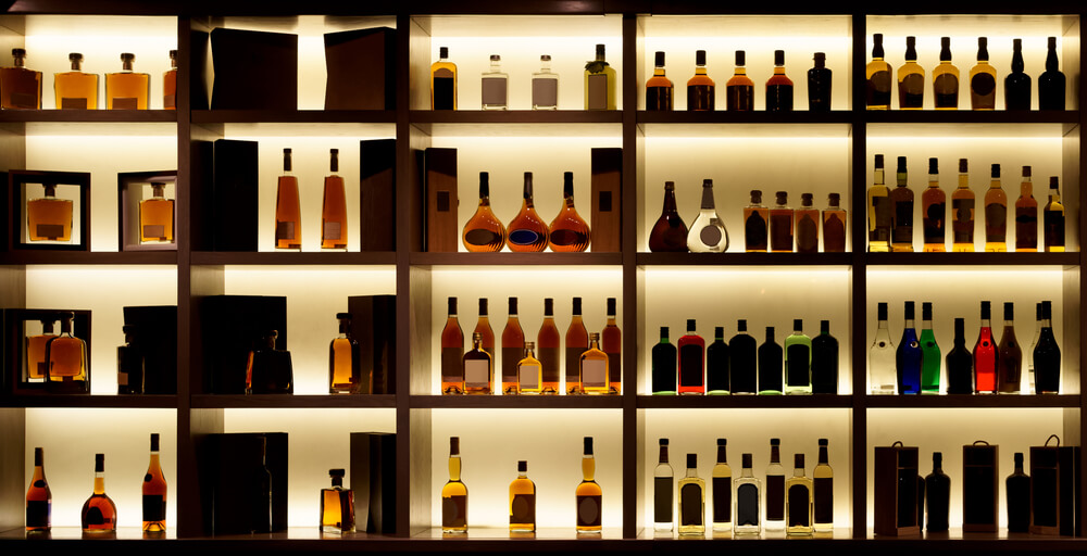 Shelves of alcohol bottles