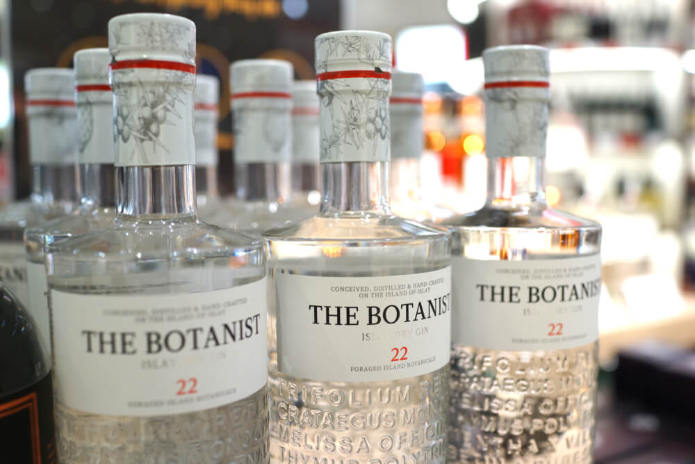 The Botanist gin bottles on shelf