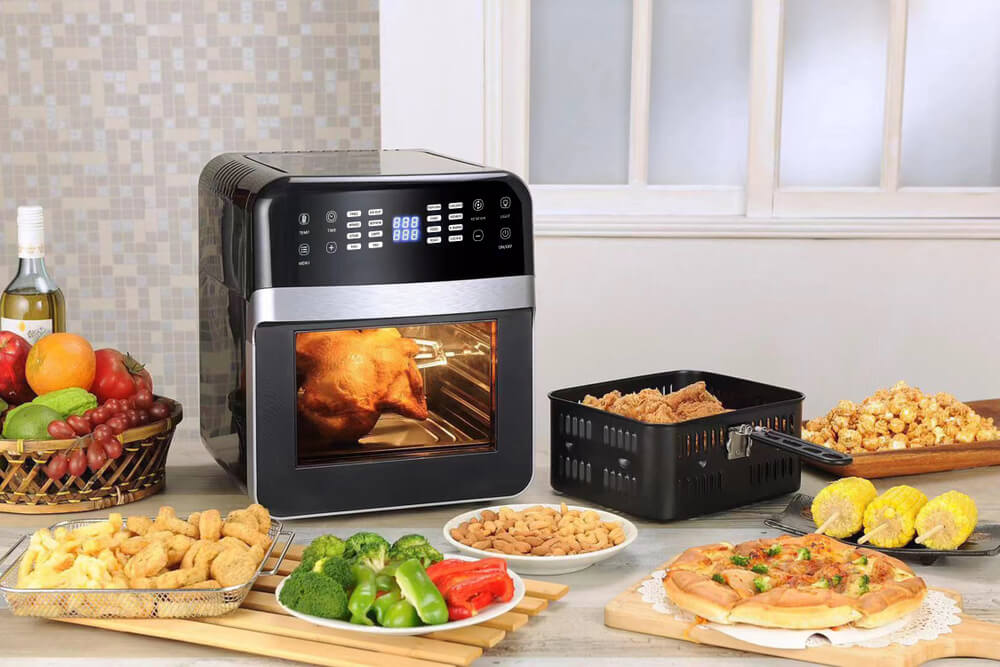 Air fryer on table with food