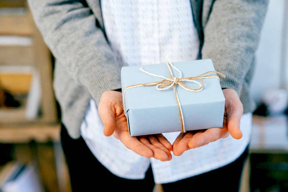 Holding a giftbox