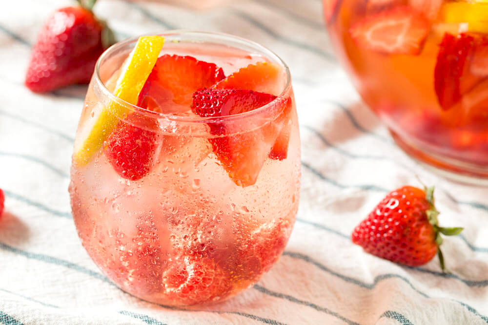 Strawberry cocktail in a glass